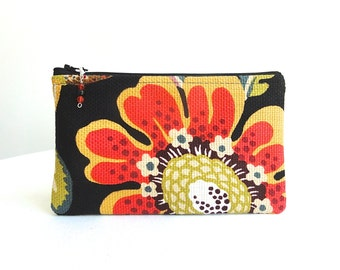 Black Big Flower Zippered Bag / Beaded Pull - READY TO SHIP