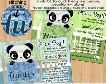 Sweet PANDA Baby Shower Invitation / bamboo boy girl neutral in crib green blue pandas / DIGITAL INVITATION