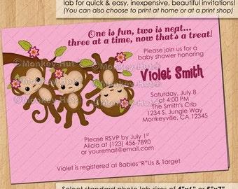 TRIPLET Girl Monkey Baby Shower Invitations / triplets girls pink monkeys swinging multiples / DIGITAL INVITATION