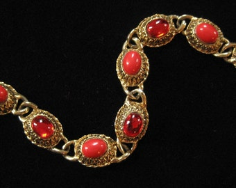 Victorian Revival Red Glass Cabochon Bracelet