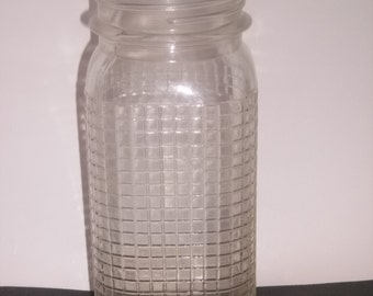 Vintage Ball Style Canning Jar with Textured Square Pattern