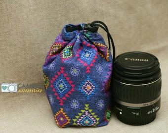 Dslr Accessory, Camera Gear, Lens Pouch, Storage, Lens Coat, Cozy Bag Tote, Aztec Blues