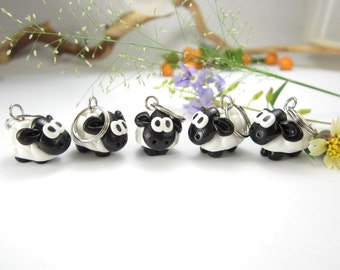 Sheep Knitting Stitch markers set of 5 - polymer clay, animal sheep stitch markers, knitting accessories, knitters, knit, sheep gift charm