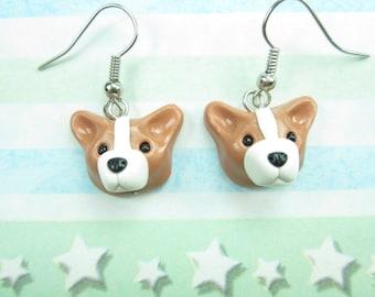 Pembroke Welsh Corgi Earrings - dog earrings jewelry miniature, corgi gift, corgi jewelry, dog lover gift, dog jewelry, polymer clay. charms