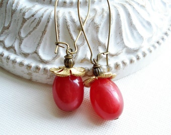 Cherry Red Dangle Earrings, Lightweight Long Drop Earrings, Vintage Style Earrings, Gift For Her Under 20