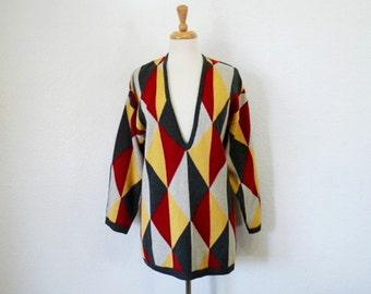 Vintage Knit Sweater Geometric Slouch Tunic Medium / Large