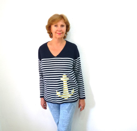 Navy Blue Striped Sweater Cotton Knit Nautical Anchor Jumper