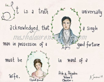 It is a truth universally acknowledged... Pride and Prejudice Art Print.  Jane Austen art.