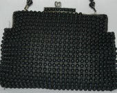 Vintage 1950s Black Candy Bead Hand Bag