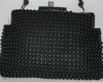 Vintage 1950s Black Candy Bead Hand Bag