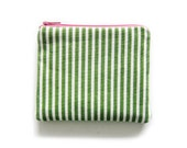 Zipper Pouch - Dots and Stripes in Olive Green - Available in Small / Large / Long