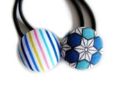 Button Ponytail Holders - Asanoha and Stripes in Blue