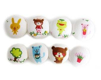 Sewing Buttons / Fabric Buttons - Animal Forest - 8 Fabric Buttons Set