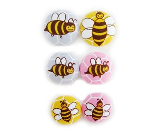 6 Fabric Buttons Set - Bumblebees