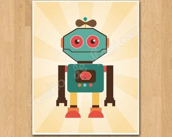 PRINTABLE PDF Instant Download Retro Robot Print