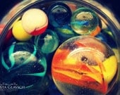 Marbles Photograph - toy kids fun circles vintage collection orange yellow blue black gift art print home decor photo photography