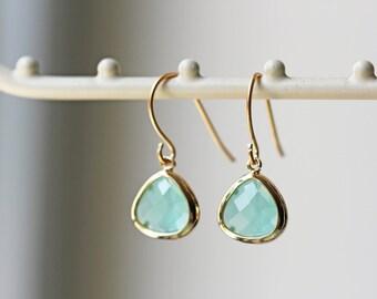 Small Light Mint Glass Earrings Gold Mint Green Crystal Dangle Earrings Titanium Earrings Hypoallergenic