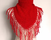 Red Shawl with Fringes and Matching Brooch