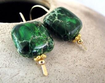 Green Earrings, Green Jasper Earrings, Gold Earrings, Green Gold Earrings, Drop, Mossy Swirl - Forests