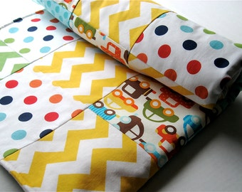 Baby Blanket Patchwork , Ready Set Go Organic Cars White Bermuda - READY TO SHIP