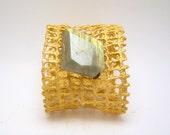 SALE - clearance - saffron mesh cuff bracelet with faceted labradorite