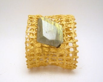 SALE - clearance - saffron mesh cuff bracelet with faceted labradorite