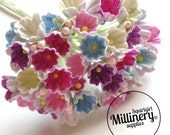 Miniature Forget Me Nots Pastel Spring Tones Wired Flowers for Millinery
