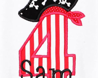 Personalized Birthday Pirate Number, Monogrammed, Custom Fabrics, Colors, and Font, Boys Birthday Shirt