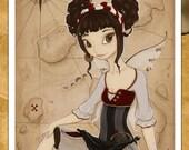 Pirate Fairy art print with treasure map -Elizabeth
