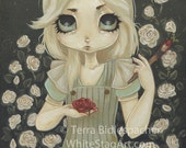 Alice in wonderland art print - fairy lowbrow fantasy - Alice painting the roses red