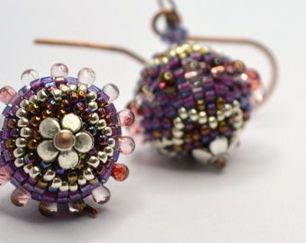 Beaded beads earrings - MAUVE  STAR with Tear Drops  - Globe Beaded Earrings on elongated copper earwire