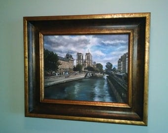 Paris Original Oil Realism Painting - 14x11in On Sale