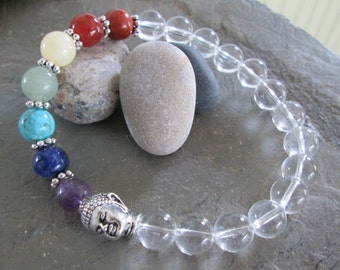 7 Chakra Bracelet - Chakra Gemstones  - Quartz Crystal & Buddha Meditation Bracelet