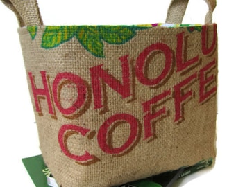 MTO. Special Occasion Gift Basket. Storage. Coffee Lover. Repurposed Coffee Bag - Large. Handmade in Hawaii.