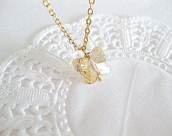Butterfly charm necklace. Sparkling swarovski crystal butterfly necklace for everyday.