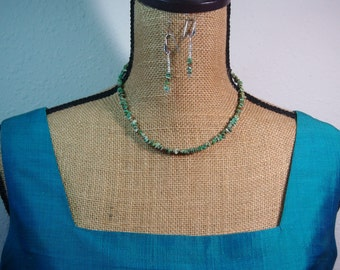 Natural Unfired American Turquoise Gemstone Chips,.925 Silver Necklace and Earrings
