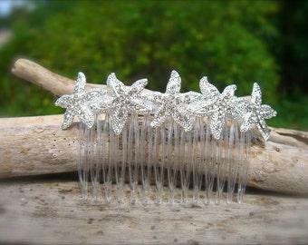 Bridal Hair Comb,Bridesmaid Accessories,Bridal Hair Piece,Starfish Hair Comb,Starfish Hair,Beach Hair Accessories,Mermaid Hair Piece