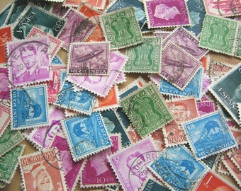 100 Vintage Stamps Mix - Old Postage Stamps - Stash of Stamps - Stamp - Stamp Mix - Postage Stamp