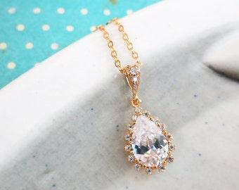 Deborah - Cubic Zirconia Luxe Teardrop Necklace, Gold Wedding Jewelry, Bridal Bridesmaid Necklace, White Crystal Jewelry, White Weddings