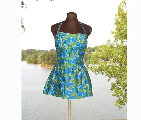 1950s swimsuit, Catalina swimsuit, skirted swimsuit, Masterpiece suit, play suit, blue green, skirted romper, Size S Small