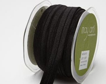 Fold Over Elastic (FOE) Ribbon - Black - 5/8 inch  - You Choose Yards