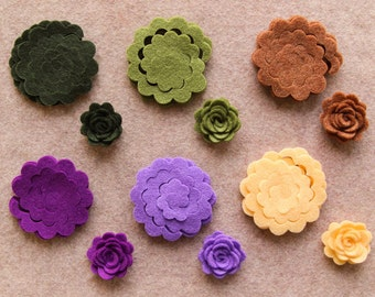 Highland Heather - 3D Rolled Roses - 24 Die Cut Felt Flowers - Unassembled Rosettes