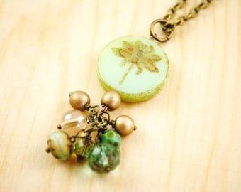 SALE - Glass Dragonfly Necklace in Green Tea Opal Glass Bead - Matte Gold, Czech glass Cluster Necklace, Rustic, Garden, Woodland