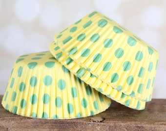 Yellow with Lime Polka Dot Cupcake Liners, Yellow Cupcake Liners, Polka Dot Baking Cups (150 count) SALE
