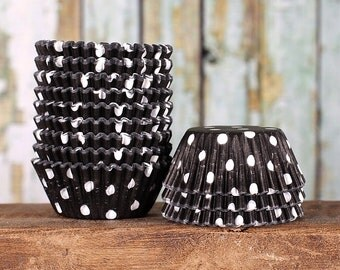 MINI Black Polka Dot Cupcake Liners, Mini Black Treat Cups, Black Dot Candy Cups, Black Cake Pop Cup, Mini Cupcake Cases, Muffin Cases (100)