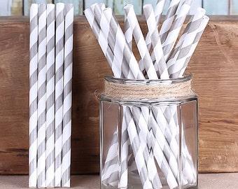 Silver Striped Cake Pop Sticks, Silver Cake Pop Sticks, Christmas Cake Pop Sticks, Wedding Cake Pop Sticks, Short Striped Paper Straws (25)