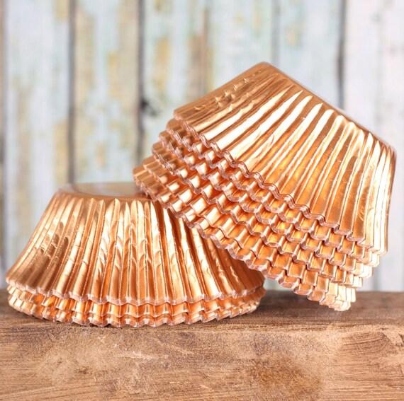 Light Orange Foil Cupcake Liners, Matte Copper Baking Cups, Light Peach Foil Cupcake Liners (125 count) LAST SET