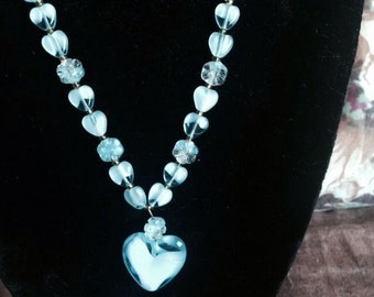 Old Estate Vintage Glass Hearts And Flowers Light Blue Pendant Necklace