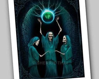Conjuring of the Skeletons,  Gothic Dark Fantasy, Surrealism Fine Art Print, Sale