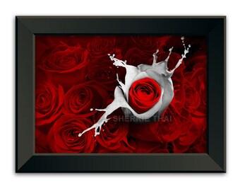 Red Roses and Liquid Romance, Gothic Fantasy Nature Illustration, Art Print, Sale
